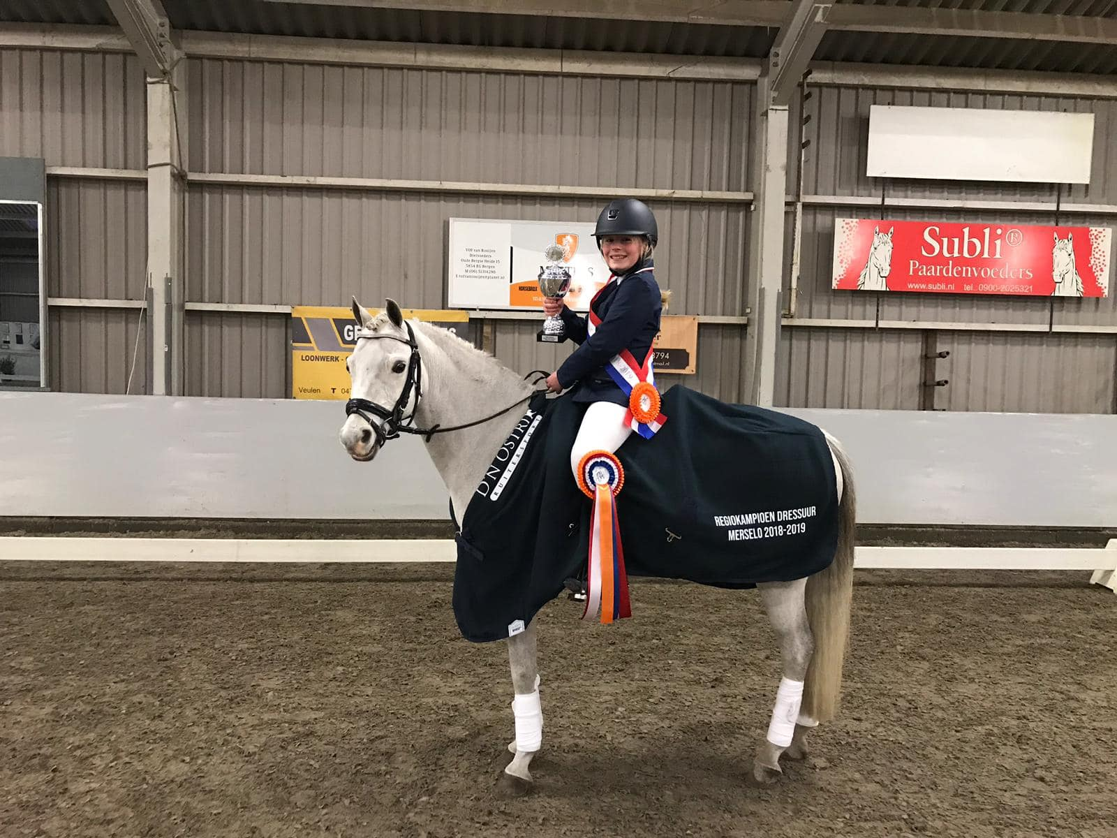 Limburgs kampioen indoor 2019: Sophie van Rooij met Willow Tree Garwyn in de  klasse C-B dressuur